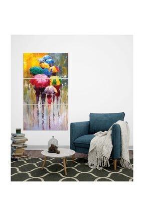 Pi Dekorasyon Renkli Şemsiyeler 3 Parça Mdf Tablo 3