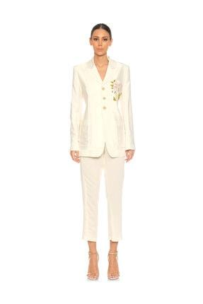 ANN DEMEULEMEESTER İşleme Detaylı Beyaz Ceket 0