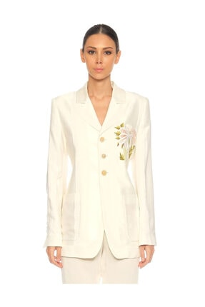 ANN DEMEULEMEESTER İşleme Detaylı Beyaz Ceket 4