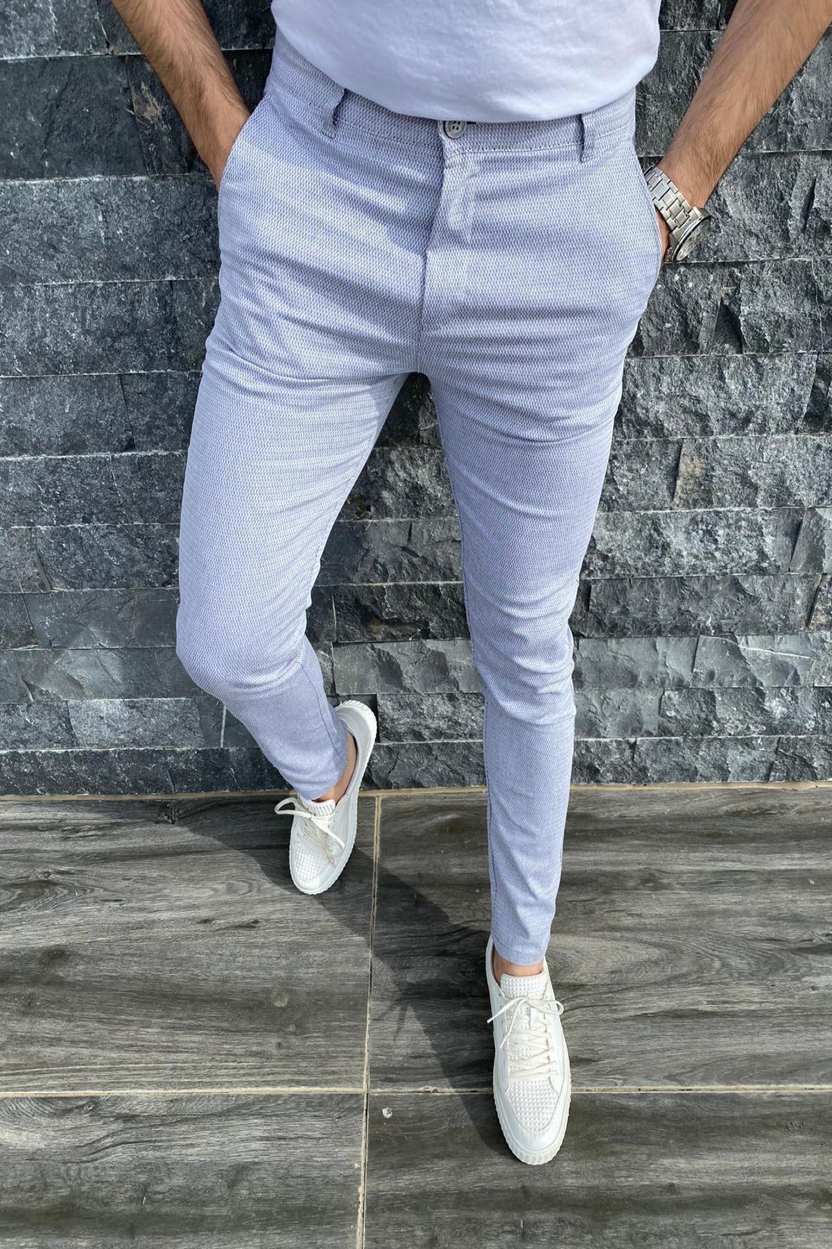 Oksit Zoom 108 Desenli Slim Fit Likralı Keten Pantolon 0