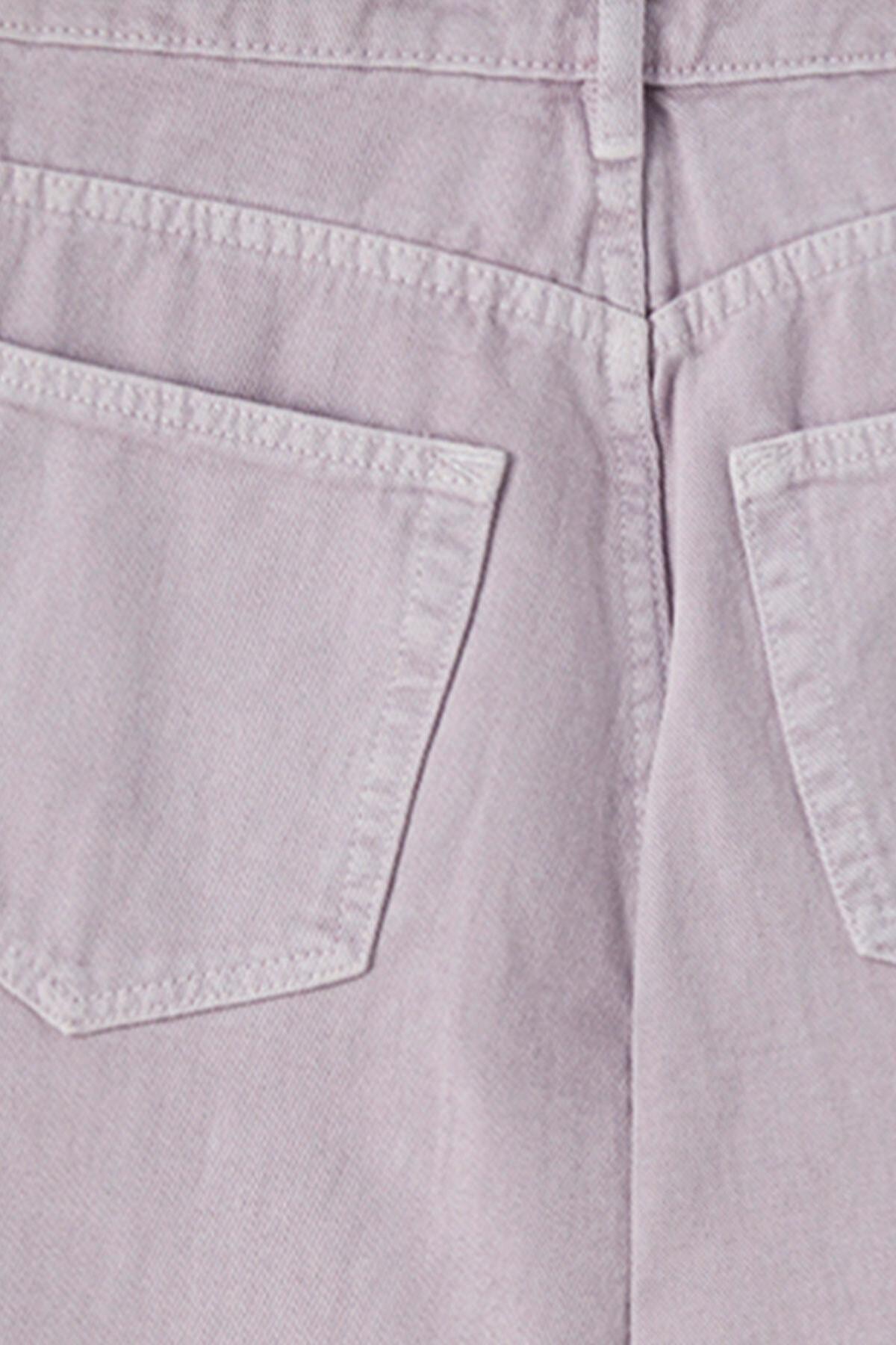 Pull & Bear Kadın Leylak Crop Straight Fit Jean 05670330 2