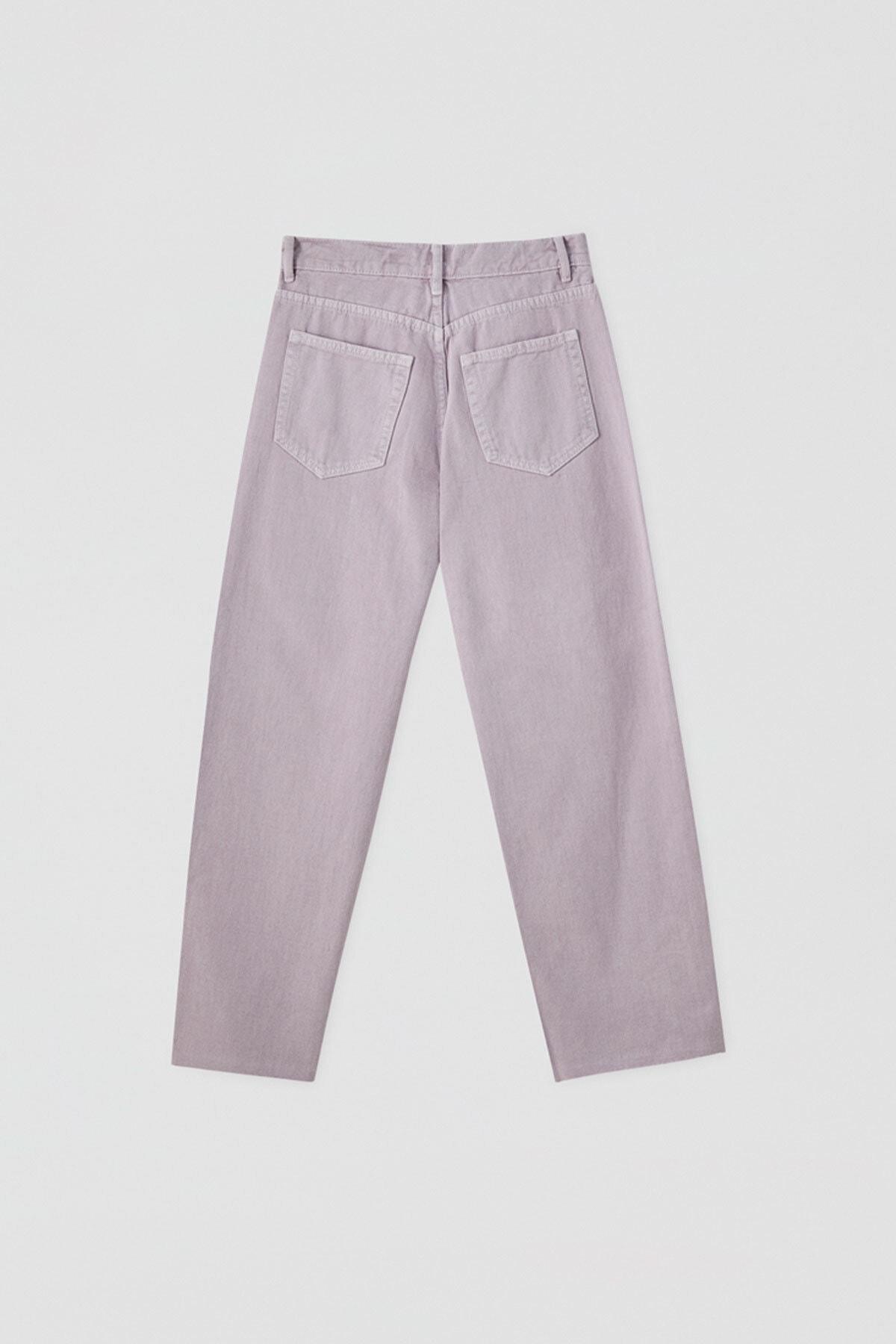 Pull & Bear Kadın Leylak Crop Straight Fit Jean 05670330 3