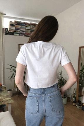 TRENDYOLMİLLA Beyaz Baskılı Crop Kalıp Örme T-Shirt TWOSS20TS1271 3