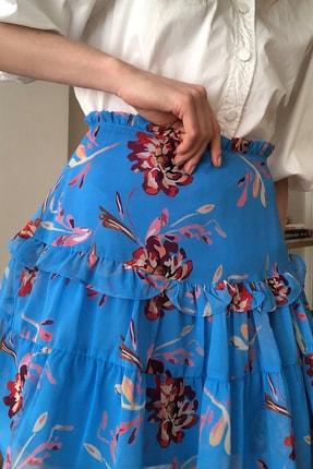 TRENDYOLMİLLA Mavi Çiçek Baskılı Etek TWOSS20ET0419 2