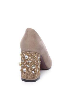Kemal Tanca Hakiki Deri Bej Kadın Kalın Topuklu Ayakkabı 122 8468 BN AYK 4