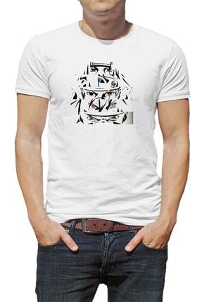 Collage Anime Naruto Baskılı Beyaz Erkek Örme Tshirt 0