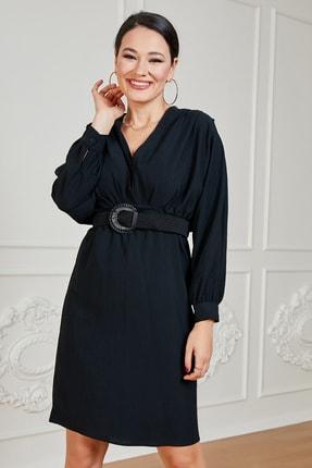 Sateen Kadın Siyah Uzun Kol Kemerli Elbise 1