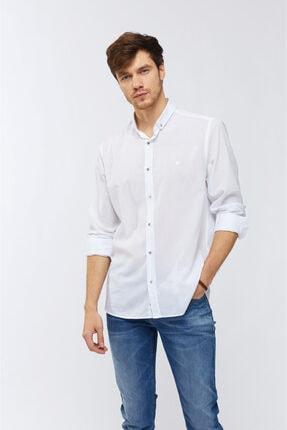Avva Düz Düğmeli Yaka Slim Fit Uzun Kol Vual Gömlek 3