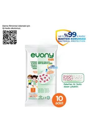 Evony Elastik Kulaklı Çocuk Kids Maske 160 Adet 1