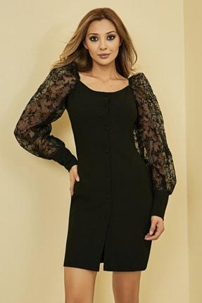 Sateen Kadın Siyah Düğme Detay Organze Balon Kol Elbise 1