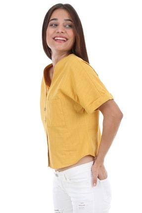 Bigdart Kadın Sarı Tek Cep Düğmeli Kısa Kol Bluz 0358 2