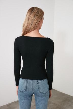 TRENDYOLMİLLA Siyah Kruvaze Örme Bluz TWOAW21BZ1274 4