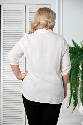 Rmg Kadın Ekru Desenli Kol Detaylı Büyük Beden Gömlek 3