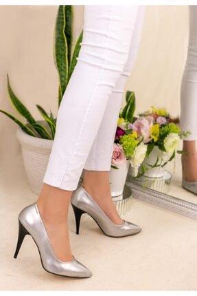 Trendypazar Kadın Gümüş Cilt Stiletto Ayakkabı 2
