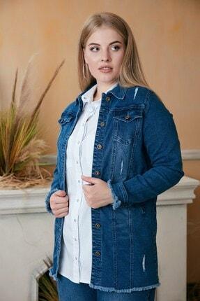 Rmg Kadın Mavi Püskül Detaylı Uzun Kot Ceket 1