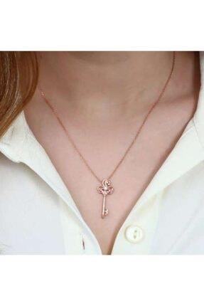Online Hediye Sepeti Beyaz Zirkon Taşlı Anahtar Tasarım 925 Ayar Gümüş Bayan Kolye 1