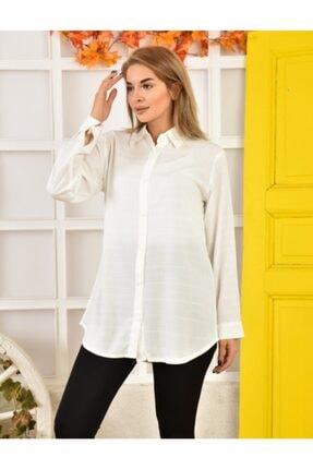 Moda Enfal Kadın Beyaz Uzun Kol Gömlek 0