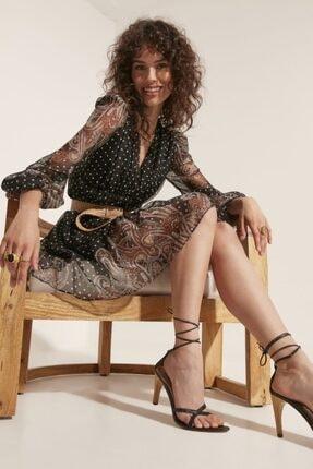 say Kadın V Yaka Etek Ucu Şal Desenli Elbise 0