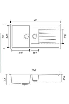 Vıvıano | | 1.5 Göz 50x100 Cm Beyaz Granit Evye + Sifon 2