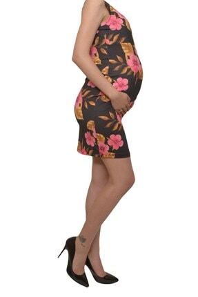 MYRA by LuvmaBelly Kadın Siyah Çiçekli Lohusa Emzirme Elbise 1
