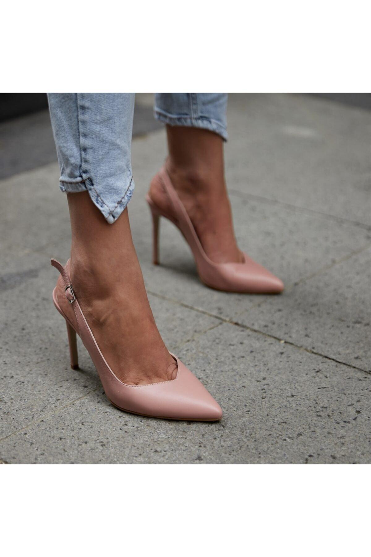 BUTİKTOZLU Kadın Pudra Mat Ablen Topuklu Ayakkabı