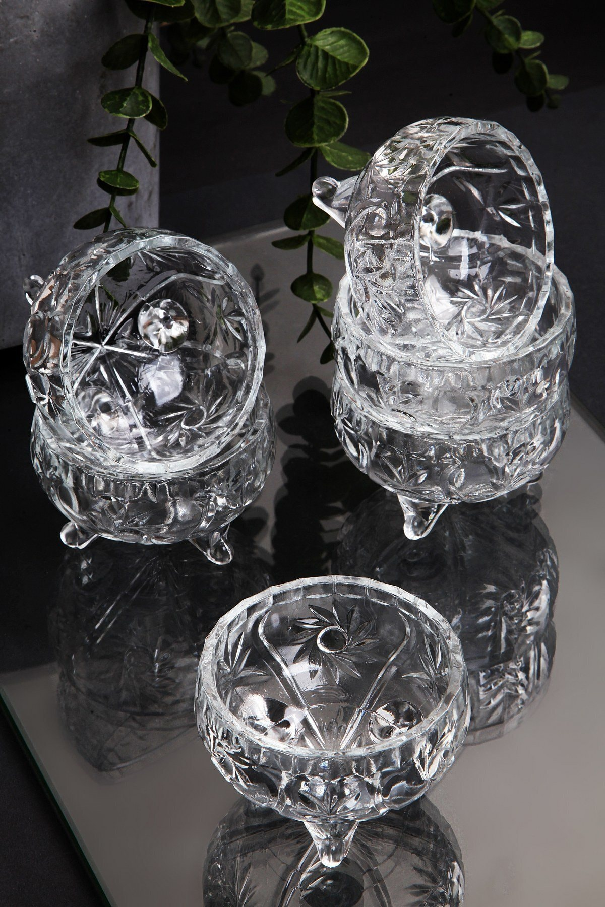6 Adet Kristal Cam 3 Ayaklı Lüx Lokumluk-çerezlik