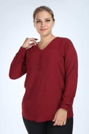 Kadın Bordo Uzun Kol Düğmeli Bluz resmi
