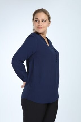 Lir Kadın Lacivert Büyük Beden Uzun Kol Düğmeli Bluz 2
