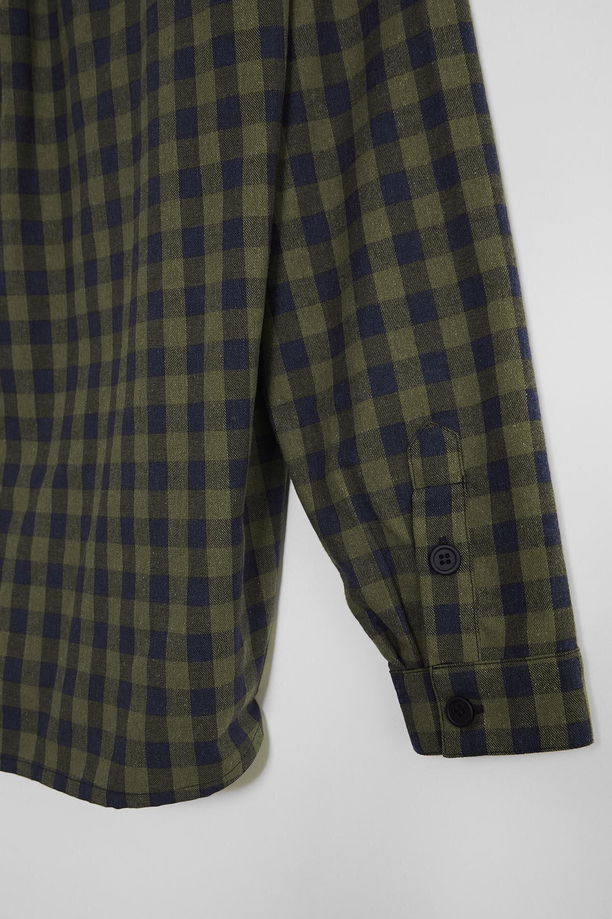 GRIMELANGE BRETT Erkek Yeşil Kareli Regular Gömlek 2
