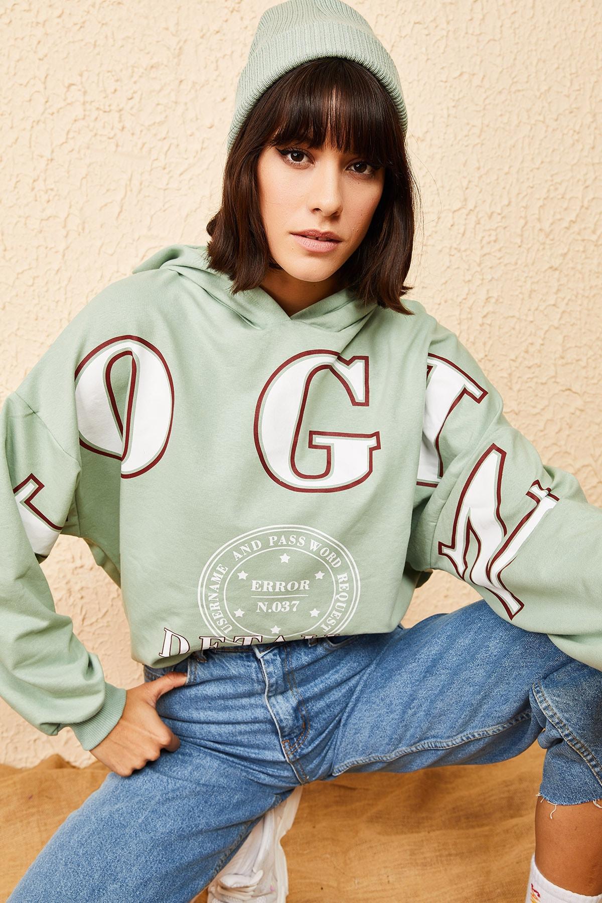 Bianco Lucci Kadın Mint Yeşili Kapüşonlu Yeşil Login Baskılı Oversize Sweatshirt 10121035 1