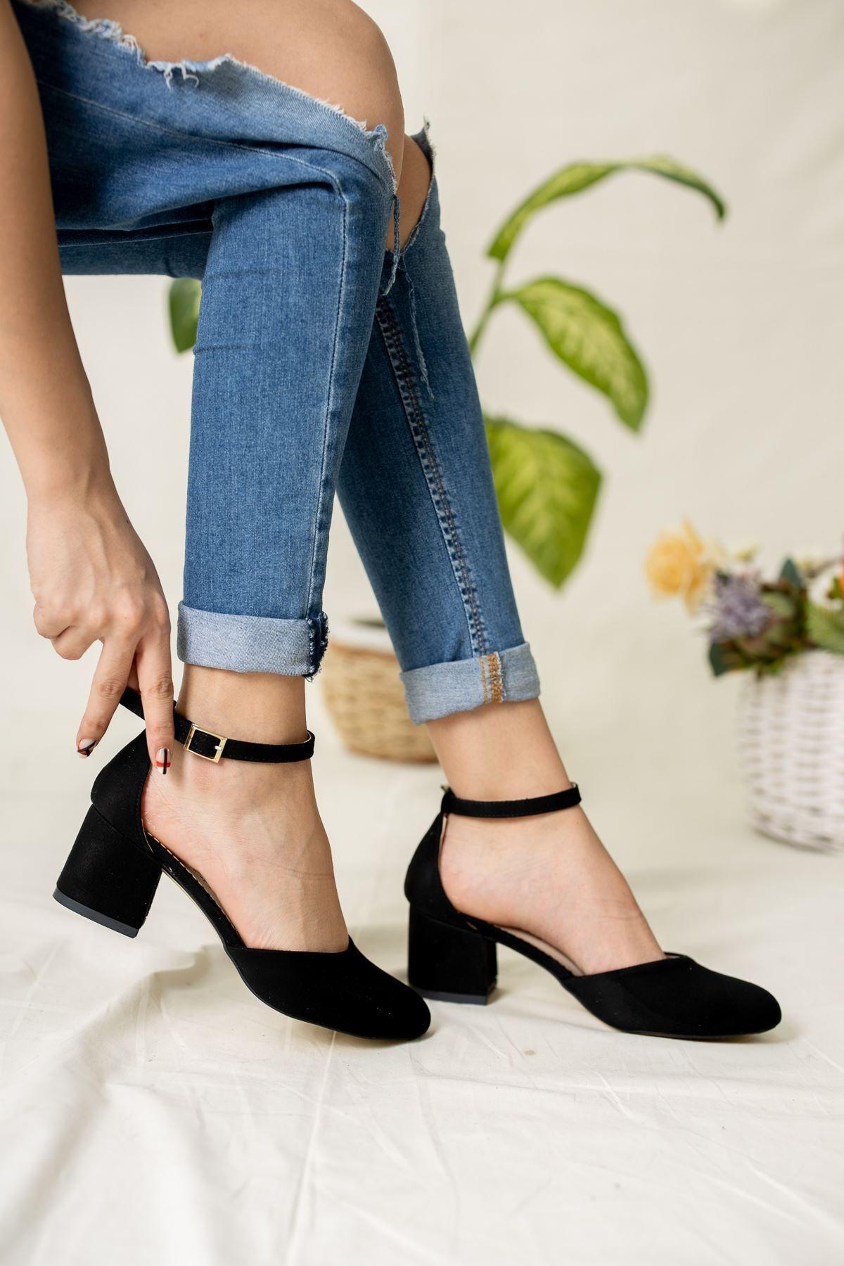 epaavm Kadın Siyah Yuvarlak Burun Süet Karnıyarık Ayakkabı
