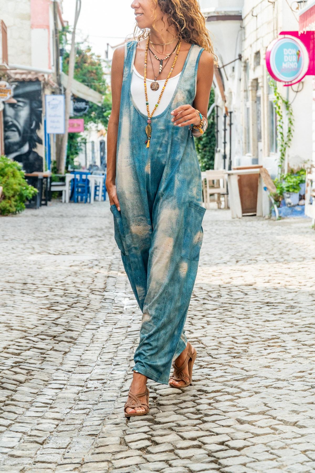 Güneşkızı Kadın Mavi Yanı Cepli Yıkama Baskılı Salaş Tulum GK-CCK988 0