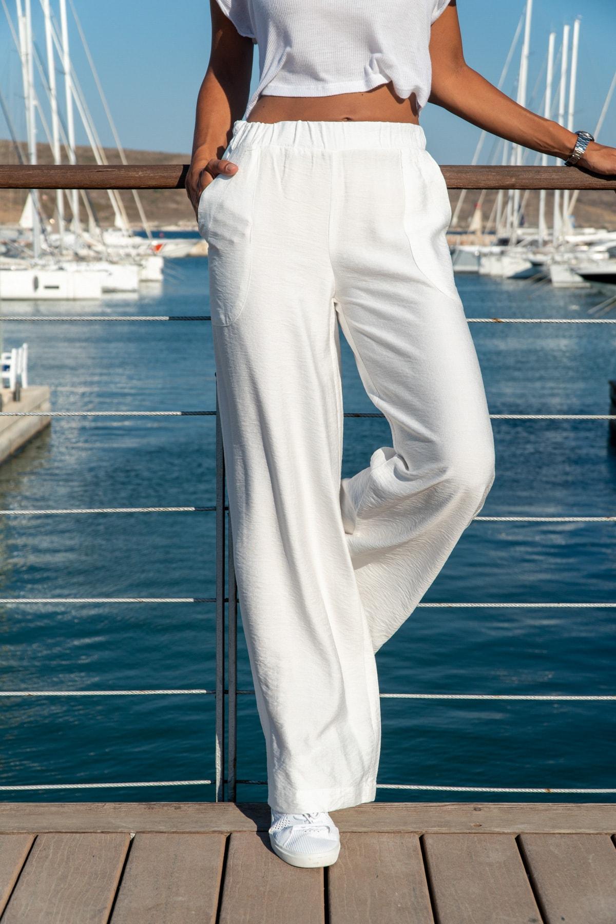 Güneşkızı Kadın Beyaz Keten Beli Lastikli Salaş Pantolon GK-BST2933 1