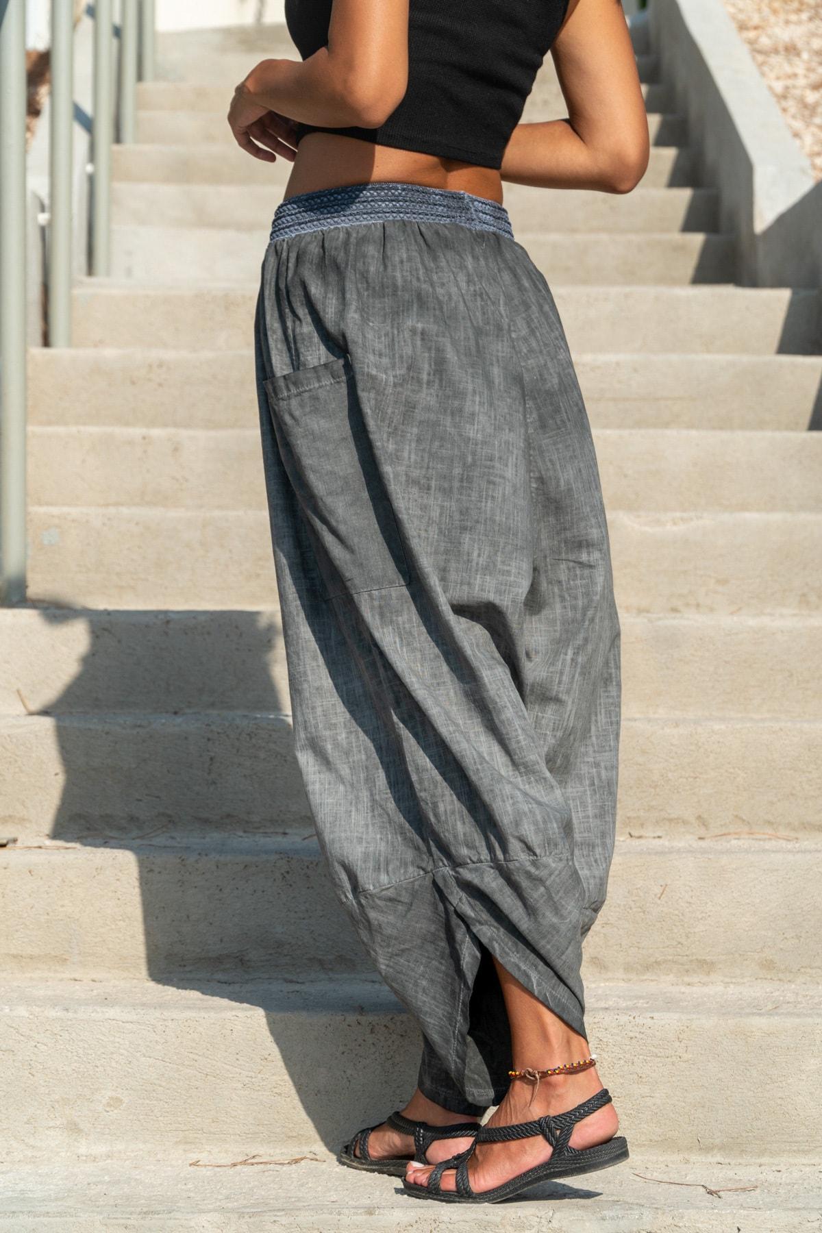 Güneşkızı Kadın Antrasit Yıkamalı Keten Cepli Beli Lastikli Şalvar Pantolon GK-CCK58048 1