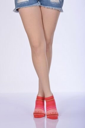 4'lü Paket - Xox Desen Kadın Patik Çorabı - Mercan B-art023 B-KAD023-42
