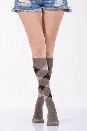 4'lü Paket - Ekoseli Dizaltı Kadın Çorabı - Bej B-art013 B-KAD013-43