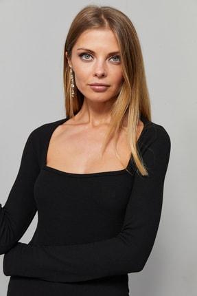 Cool & Sexy Kadın Siyah Kare Yaka Bluz EY1101 2