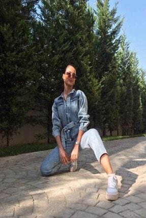butikgogirl Kadın Mavi Kot Tulum 4