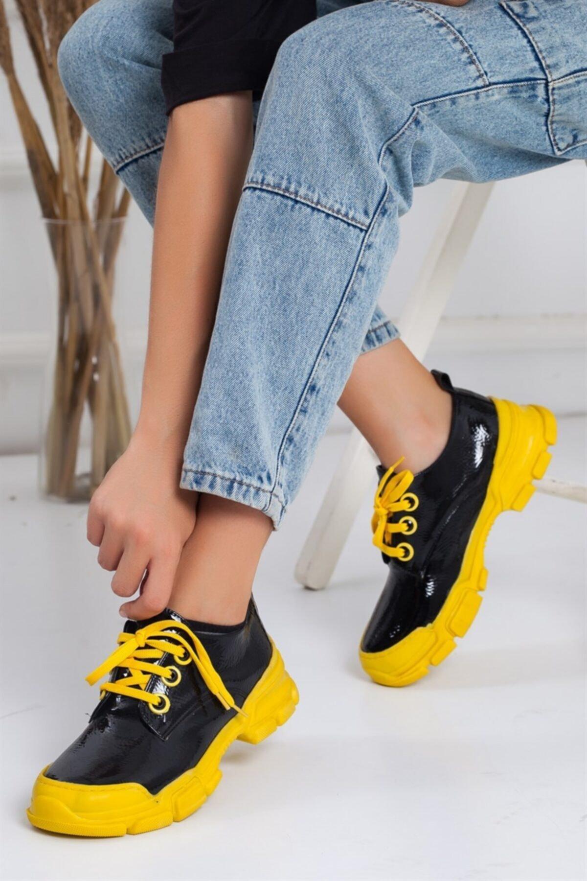 Lovita Shoes Kadın Siyah Sarı Reny Kırışık Rugan Sneakers