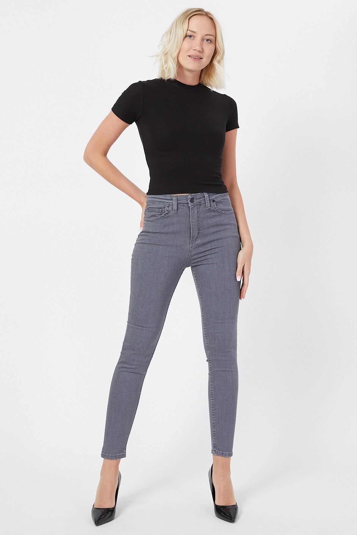 Kadın Gri  Dar Paça Yüksek Bel Kot Pantolon