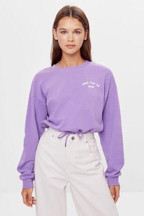 Bershka Kadın Mor Baskılı Bağcıklı Sweatshirt 0