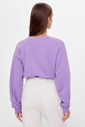 Bershka Kadın Mor Baskılı Bağcıklı Sweatshirt 1