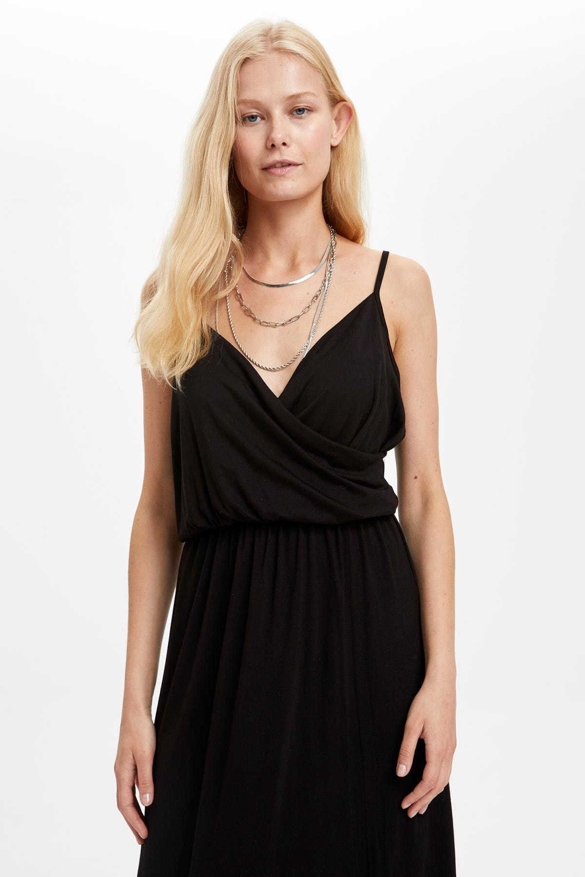 Defacto Kadın Siyah Kruvaze Yaka İnce Askılı Elbise S5170AZ20HS 1