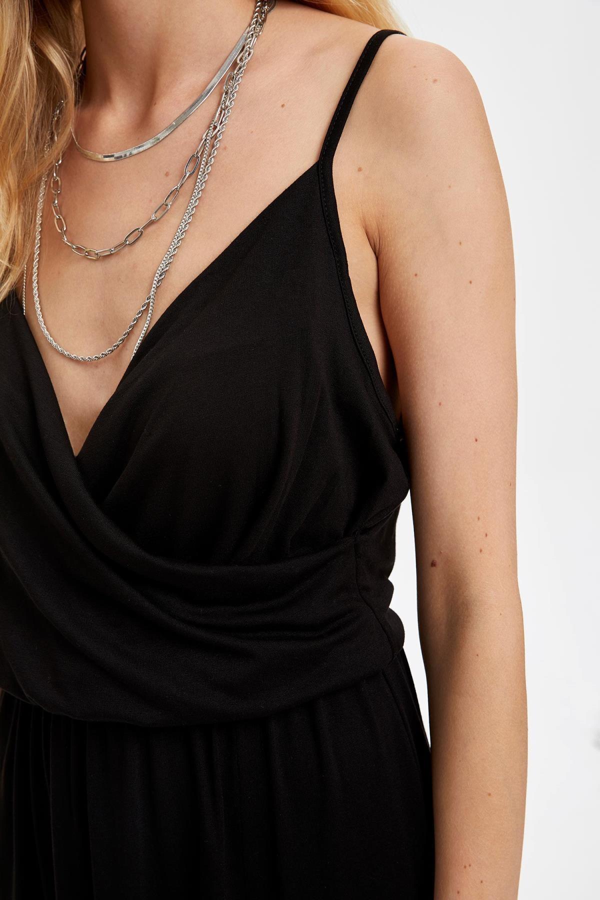 Defacto Kadın Siyah Kruvaze Yaka İnce Askılı Elbise S5170AZ20HS 2