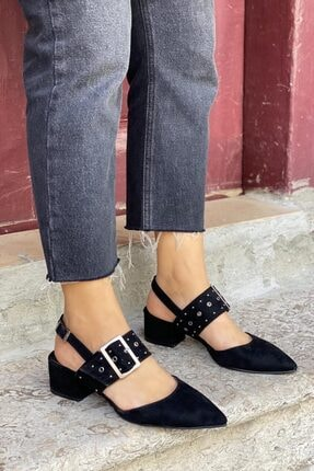 Straswans Amelia Süet Topuklu Ayakkabı Siyah 1