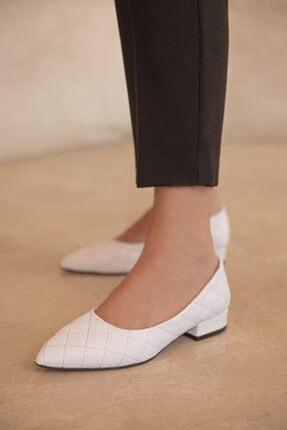 Straswans Worde Deri Topuklu Ayakkabı Beyaz 1