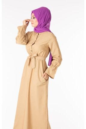 Tp Tesettür Pazarı Kadın Krem  Tesettür Elbise Kuşaklı Nkt61969-3 1