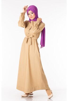 Tp Tesettür Pazarı Kadın Krem  Tesettür Elbise Kuşaklı Nkt61969-3 2