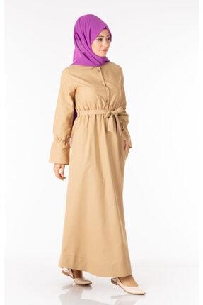 Tp Tesettür Pazarı Kadın Krem  Tesettür Elbise Kuşaklı Nkt61969-3 4