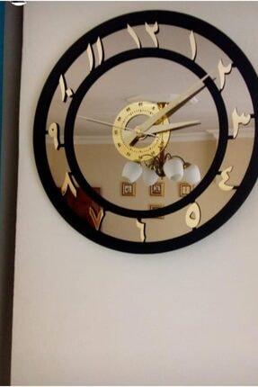 İK mimarlık Elite Arapça Rakamlı Ayna Saat 50 Cm (orta Boy) Bronz Gold 1